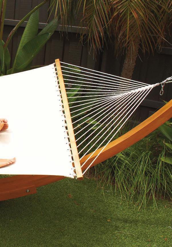 TIMBER ARC HAMMOCK & STAND COMBO HX-1007 (Cream) Canvas hammock with treated pine timber stand Hammock size: 155cm(W) x 200cm(L) Stand size: