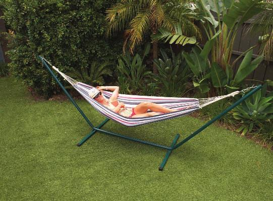 comfort Cream LAYBACK SINGLE PERSON HAMMOCK & STAND HX-1003T (Navy/Cream) Single person hammock Material: cotton hammock and powder coated steel