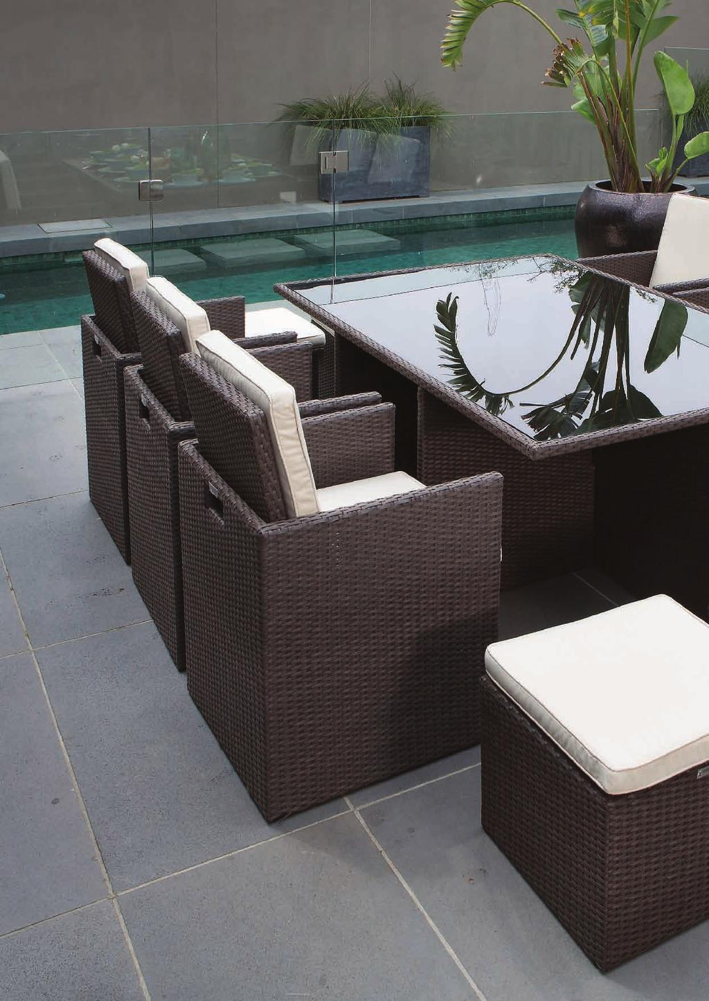 SEASIDE CUBE SEASIDE 11 PIECE CUBE SETTING HX7199HCOF (Coffee Ruff) UV stablised and 100% waterproof 8cm thick cushions for extra comfort Six chairs 58 x 55 x 70cm with cushions Four footstools