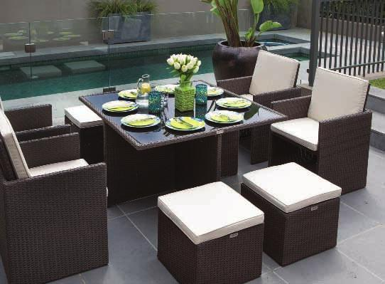 with cushions One table 190 x 120 x 75cm with 5mm black tempered glass top Rattan Colour: Coffee Ruff Cushion Colour: Cream Coffee