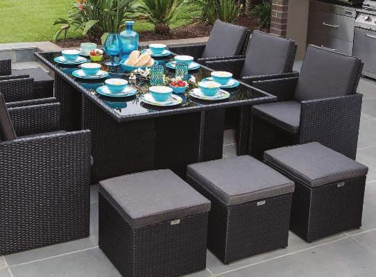 Six chairs 58 x 55 x 70cm with cushions ALSO AVAILABLE HX6133HBLK () Rattan Colour: Cushion Colour: Four footstools 50 x 50 x 35cm