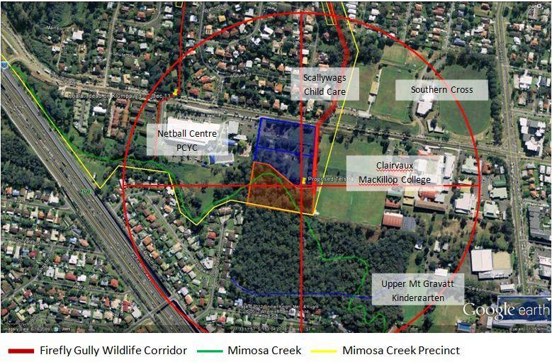 400 metre radius around tower includes Clairvaux classrooms, Scallywags Child Care, Upper Mt Gravatt Kindergarten and