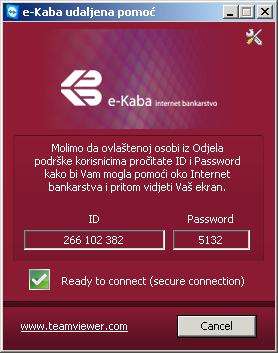 Potvrdite: Ready to connect (secure connection) - Spreman za uspostavu sigurne veze.