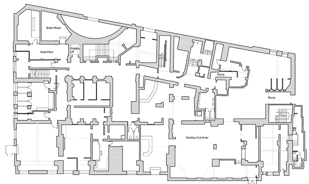 Existing Floor Plans EXISTING BASEMENT FLOOR Old Main Entrance Deliveries Club Entrance