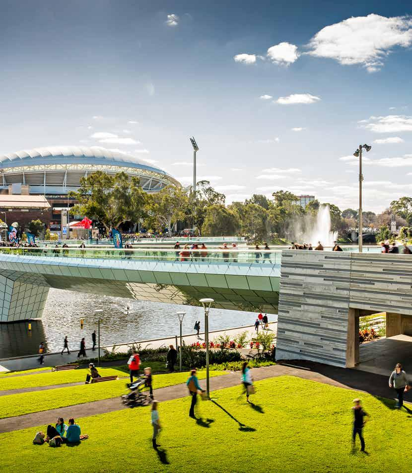 attractive Public spaces riverbank promenade The construction of Stage 2 of the Adelaide Convention Centre extension has created an opportunity to establish a vibrant food and beverage boulevard