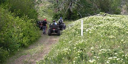 Besides Gary Franklin, OCTA member from Cambridge, ID, who is always faithful when the trails in that area needs help in marking, two visitors from Nampa volunteered their ATV s and two days of
