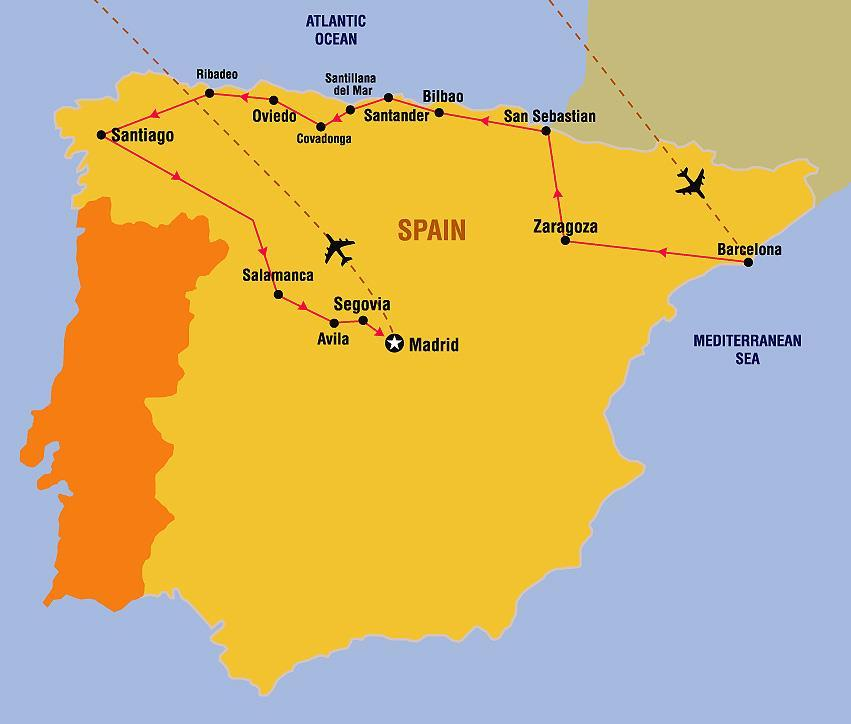 Itinerary Northern Spain Day 1: USA-BARCELONA, Spain Evening departure on your transatlantic flight to Europe. Dinner, movie, and breakfast on board.