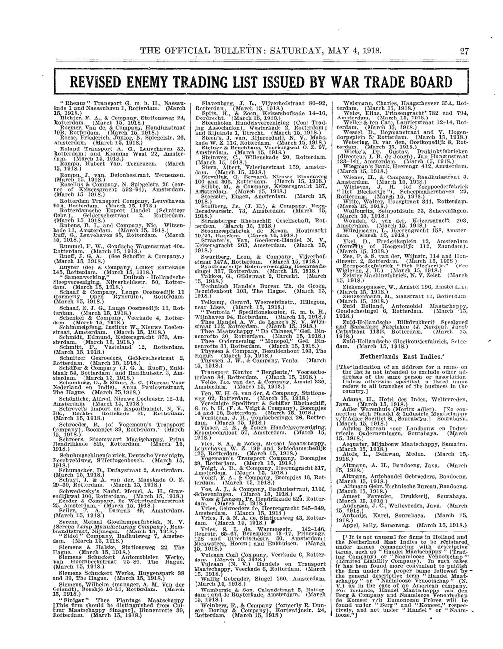 Revised And Enlarged Enemy Trading List In This Issue Jtoial The Little Things She Needs Samara 10b Black Official 1bulletin Saturday May 4 1918 27