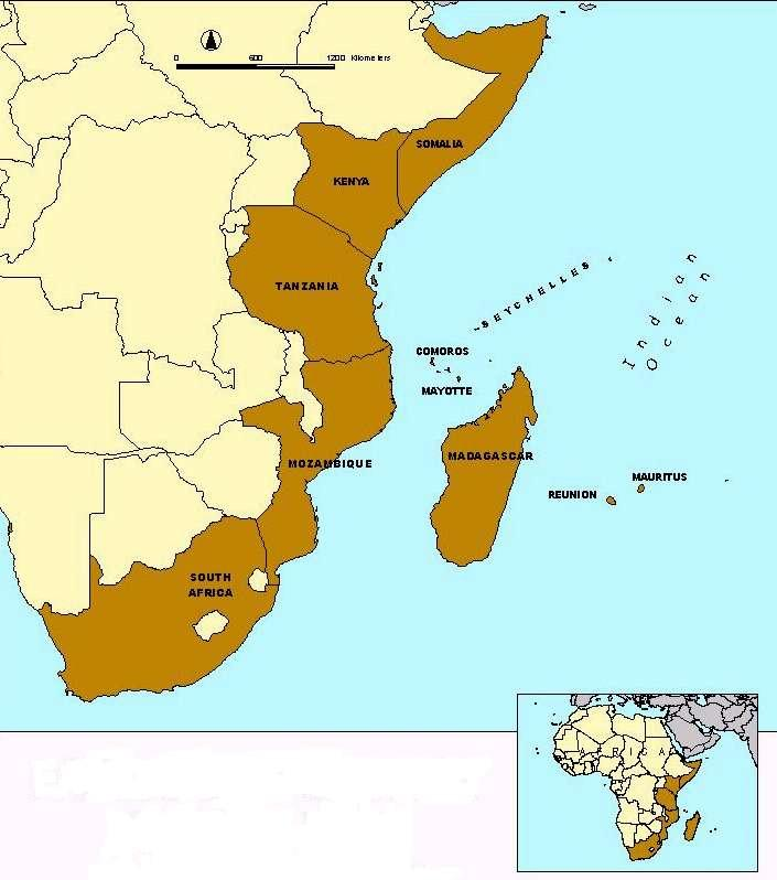Western Indian Ocean Region East Africa mainland states Indian Ocean Islands states