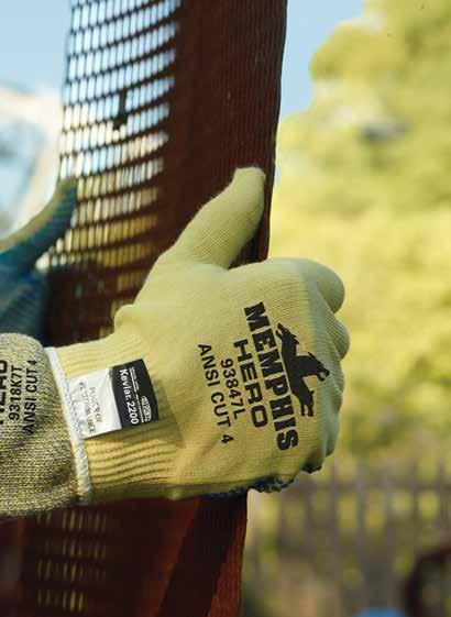 Hand Protection Category SHOWA 250 Gloves Features a blend of 13-gauge Kevlar stainless steel and polyester knit with sponge nitrile palm coating.