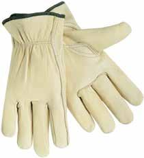 Cowhide Leather Drivers Gloves Grain cowhide leather construction. Gunn cut with straight thumb and bound hem. Shirred elastic wrist for a secure fit.