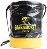 Hard composite plating sewn into bottom protects bucket from accidental punctures. Protective leather sleeve covers inserts and is resilient to the elements and harsh work environments.