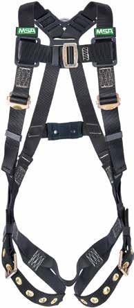 Page 165 Workman Arc Flash Harness Designed to protect a worker during a fall after an arc-flash exposure at 40 cal/ cm². Durable nylon material will not melt or drip in the event of an arc flash.