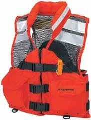 Category Water Safety Deck Hand Vests Heavy-duty flotation vest made with tough, nylon oxford outer shell and soft, lightweight mesh for ventilation.