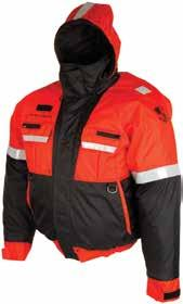 Water Category Safety Powerboat Flotation Jackets Bomber-style float coat incorporates comfortable fit with improved wrist and waistband that will not expand as it gets wet.