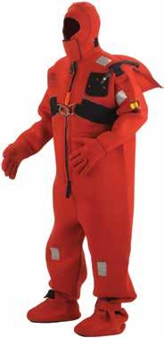 Fasten clothing to improve insulation and to minimize cold water flushing in and out beneath the clothing. If an immersion suit is available put it on over the warm clothing.