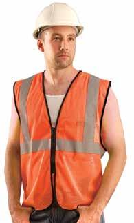 Secures with front hook-and-loop closure. ANSI 107-2010 Class 2 High-Visibility Apparel compliant.