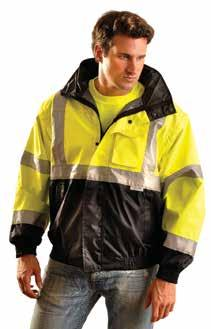 Remove sleeves to wear as Class 2 vest alone, or with inner fleece jacket underneath. Non-compliant, black fleece jacket can be worn alone when working away from traffic.  Yellow.
