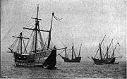 landfall did not much exceed 30 days when Columbus embarked on his first audacious voyage lasting 36 days across the Atlantic Ocean (from the Canari Islands).