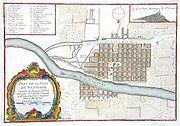 Colonial Santiago Map of Santiago at the beginning of the colonial eighteenth century. The South is located at the top of the image.