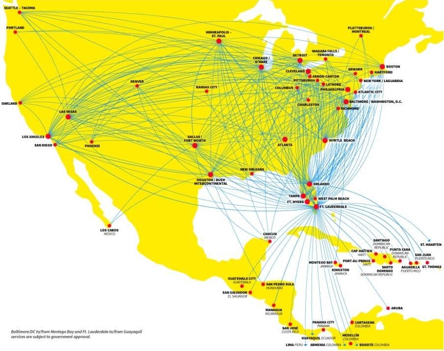 Serving Over 235 Non-Stop Markets 6 500+ daily flights, 65 destinations Diversified network Primarily low frequency, point-to-point Serve 22 of the Top 25 U.