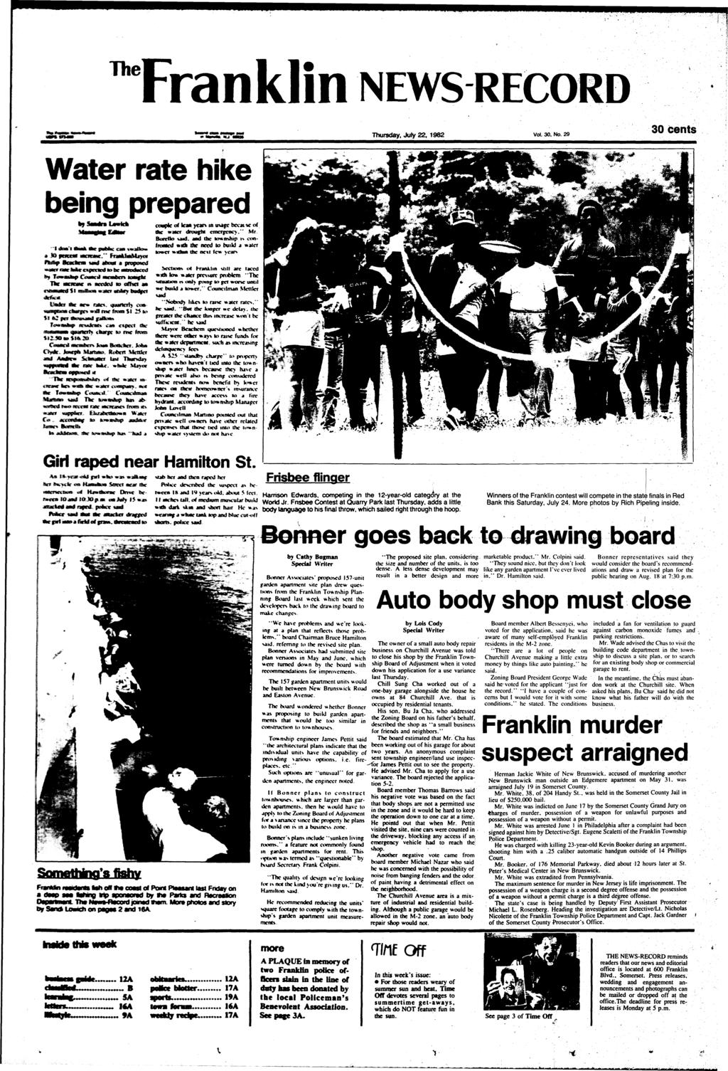 ^Franklin NEWS RECORD Thursday, July 22, 1982 Vol. 30. No.