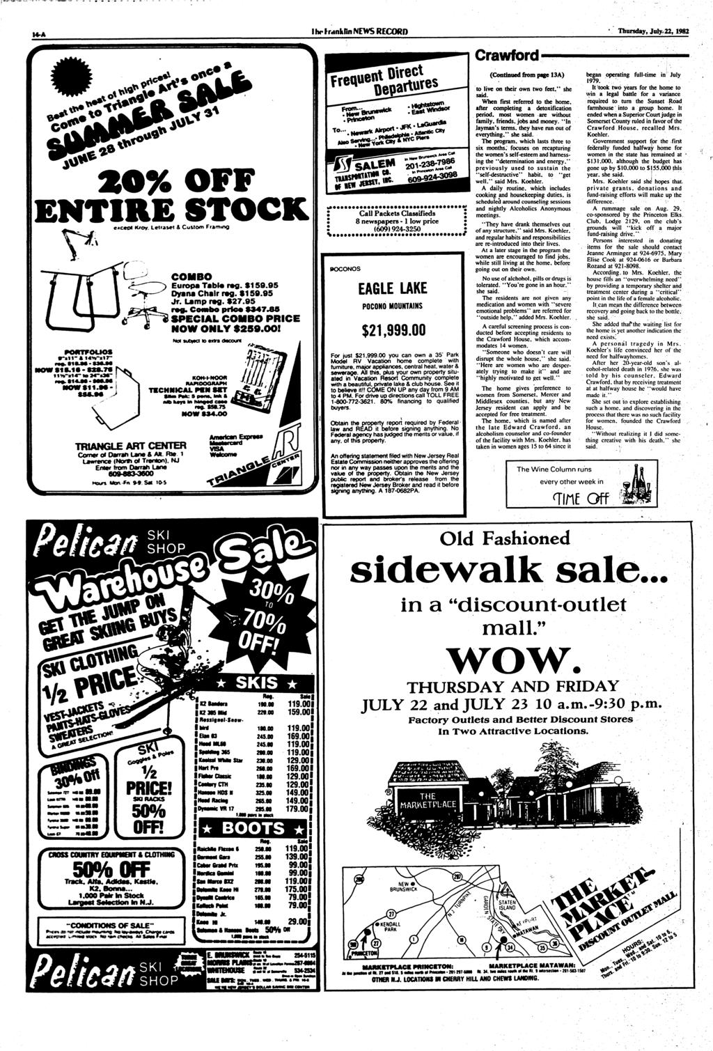 I hr IrdnkDn NEWS RECORD 4 Thursday, July, 22, 1982 2O% OFF ENTIRE STOCK **c*t* K/ov leitaset & Custom Framing COMBO Europa Tabto rag. $159.95 Dyana Chair rag. $159.95 Jr. Lamp rag. $27.95 rag.