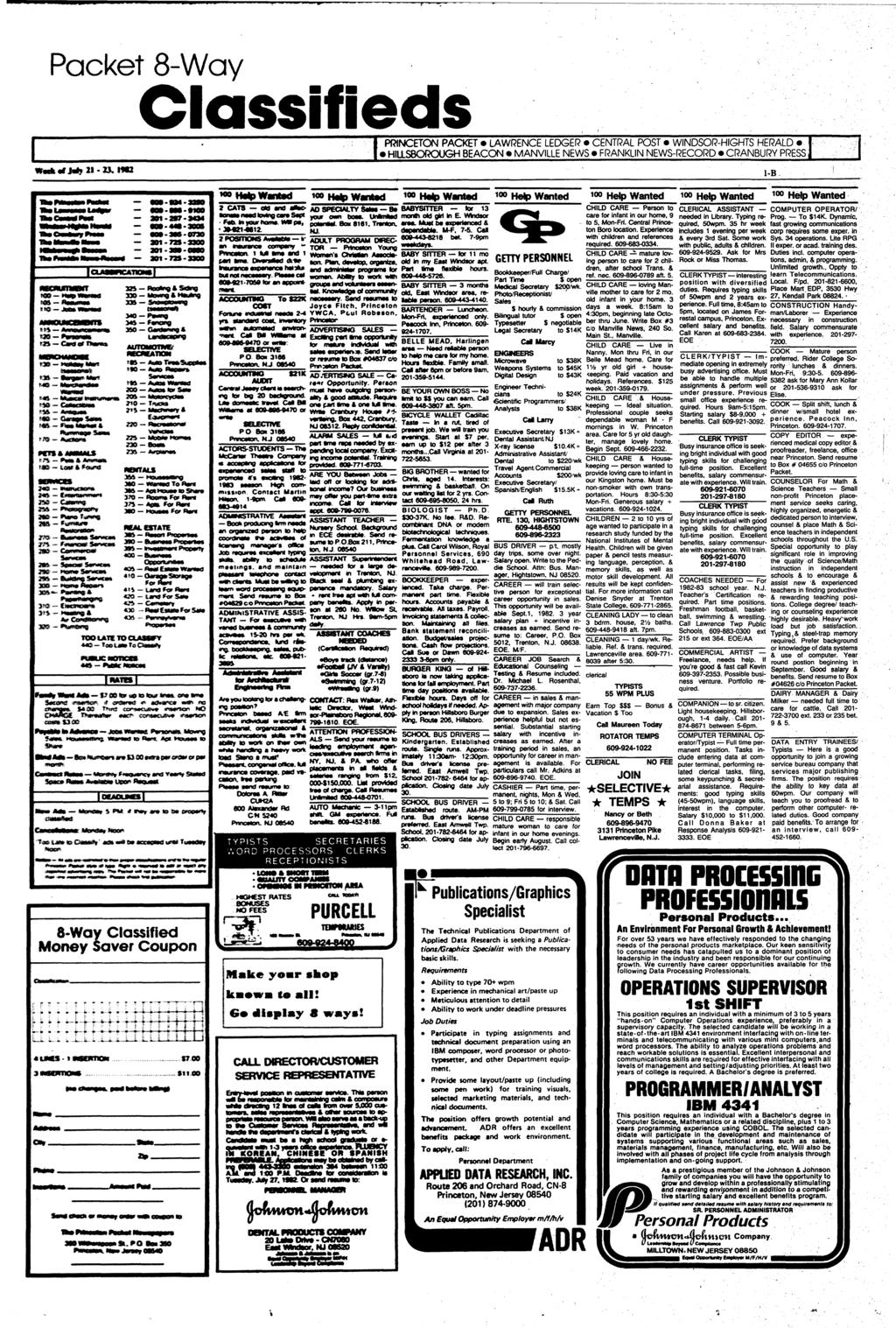 Packet 8-Way Classifieds IPRINCETON PACKET LAWRENCE LEDGER CENTRAL POST WINDSOR-HIGHTS HERALD I H1LLSBOROUGH BEACON* MANVILLE NEWS FRANKLIN NEWS-RECORD CRANBURY PRESS 1-B ftacmexw* 301-72S atraa*s IF