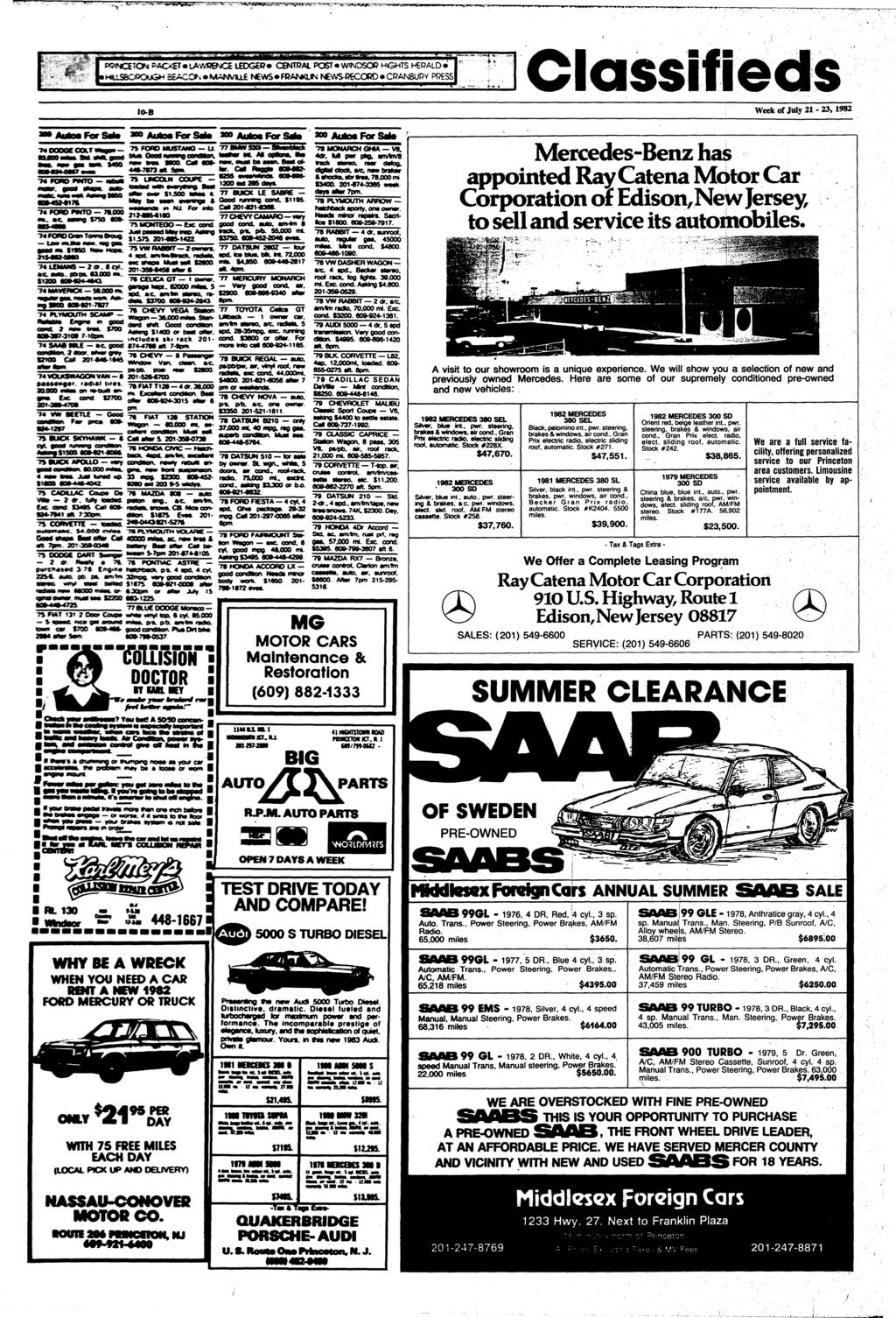 "E PACKET LAWRGNCE lhjgb?» CCNTRAL POST WINDSOR HGHTS HERALD I HUSBOROUGM BCACO^*»MANVSUL ^<VtfS FRA^#QJ^i NEWS-RECORD CRANaiRY PRESS! Classifieds IO-B Week of July 21-23,1982 ""?< OOOOE COCT' Maa."