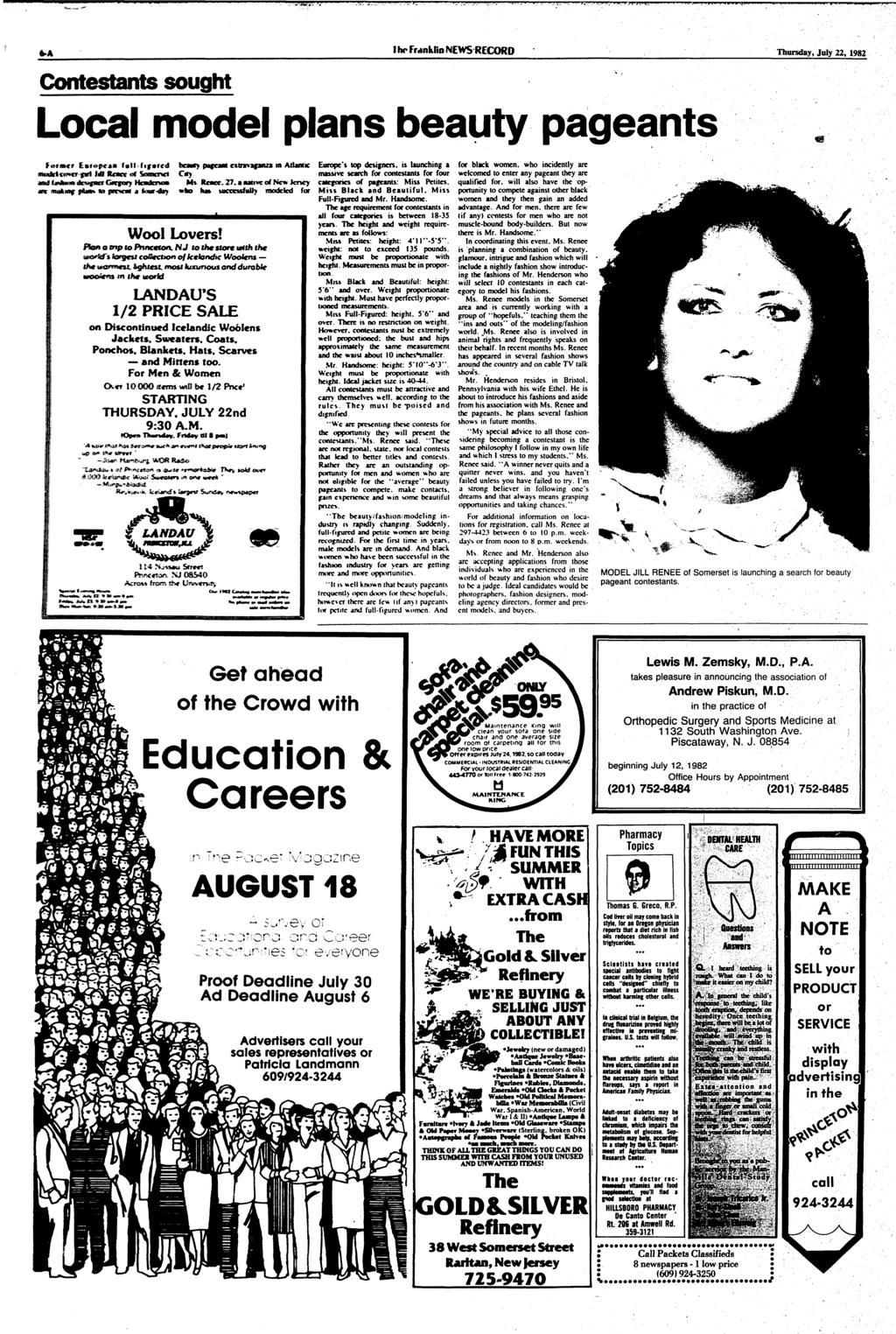 Contestants sought I IN* Franklin NEWS RECORD Thursday, July 22, 1982 Local model plans beauty pageants h»t*>p**m fall fifntcd J«S fumoc «* Seeaortei nwfcibf p&m* M pntiem a <*wr»drj beaut?