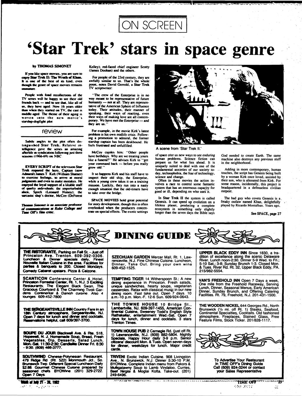 ON SCREEN 'Star Trek' stars in space genre by THOMAS SLMOSET tf yoa hkc space memo, you me tore «o oy Star Tnli O: Ike Wratk of KkM.