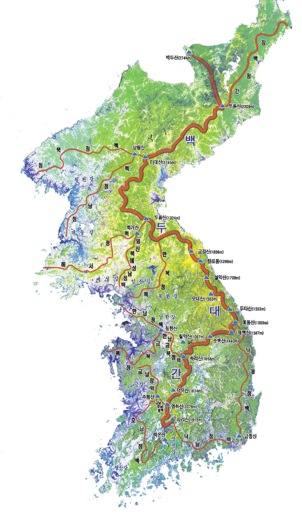 Ecological Corridors (Baekdu Daegan, South Korea) Map 1: Baekdu