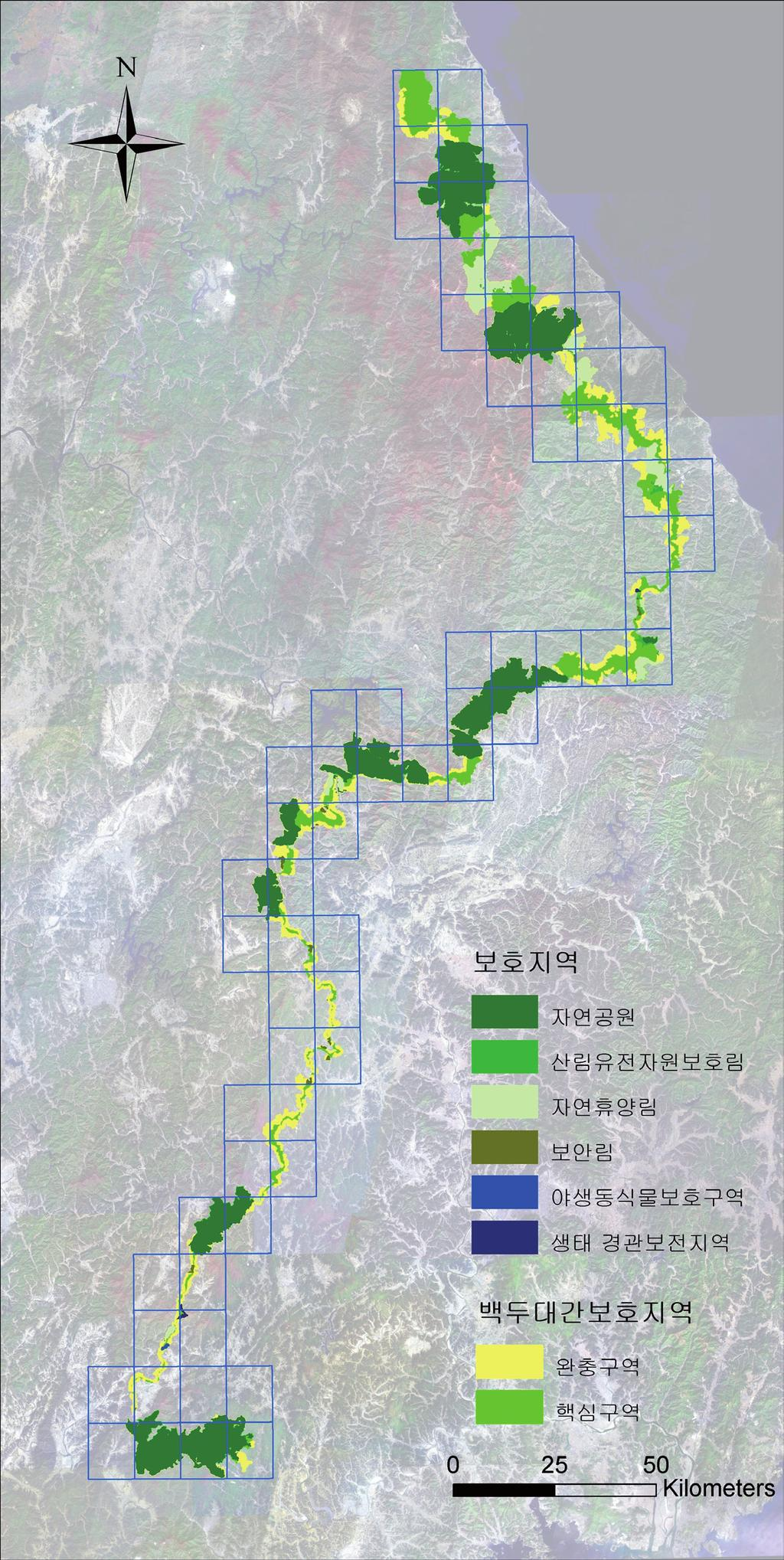 Ecological Corridors (Baekdu Daegan, South Korea) Map 2: Protected