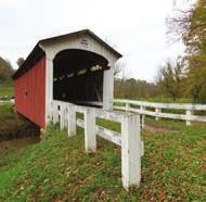 The Henry Covered Bridge was built in 1894 over the west branch of the Little Hocking River on Fairfield Road. Open to pedestrian traffic only, built with a king post truss design.