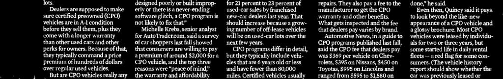The data do not show actual transaction prices. All major manufacturers have CPO programs, and CPO sales have climbed steadily since the recession to a record 2.3 million vehicles in 2014.