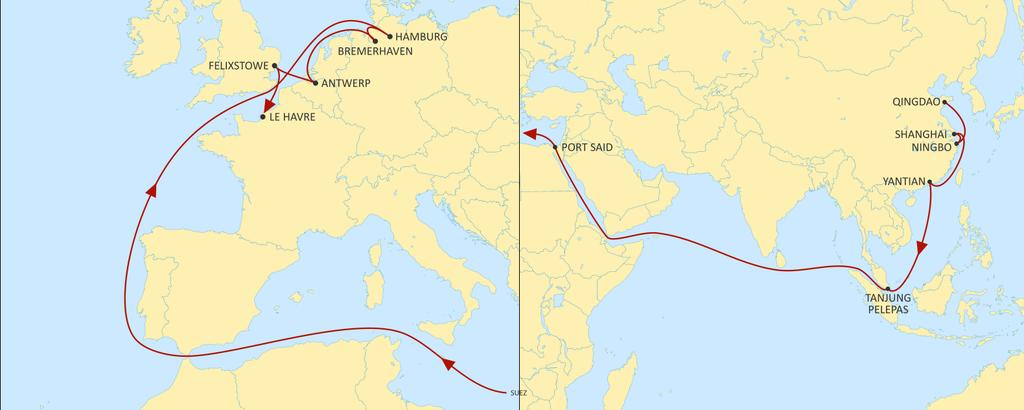 ASIA NORTH EUROPE CONDOR WESTBOUND Great service to Germany from major Asian ports Best offer to Hamburg HAMBURG BREMERHAVEN ANTWERP FELIXSTOWE LE HAVRE QINGDAO 33 37 39 41 43 NINGBO 30 34 36