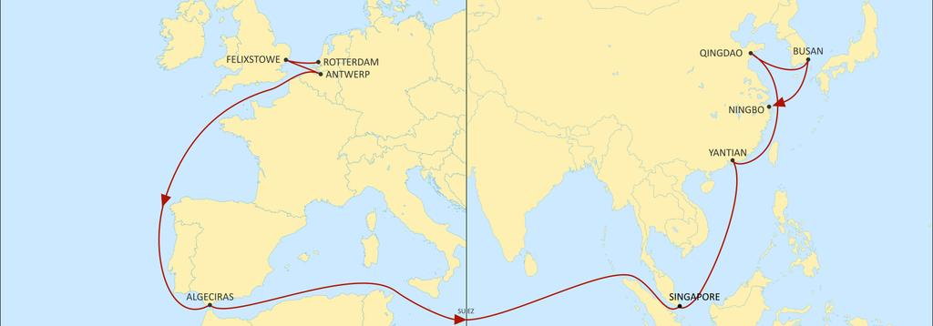 ASIA NORTH EUROPE SWAN EASTBOUND Main service from UK to Asia with full coverage to China (direct or in TS ) & SEA. Fast TT from FLX to Yantian > 33 days Export call from Algeciras to all Asia.