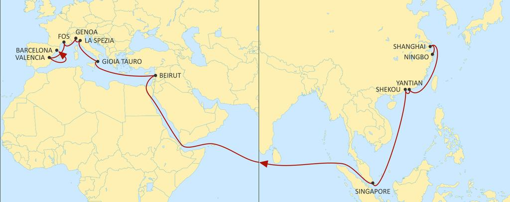 ASIA MEDITERRANEAN DRAGON WESTBOUND Enhanced service reliability. Direct service to Beirut, with ultracompetitive transit times, excellent coverage of Syrian ports and to the South of Turkey.
