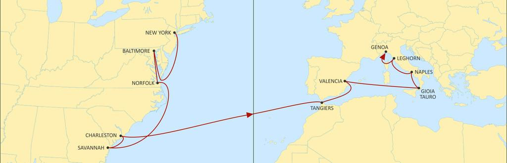 TRANSATLANTIC MEDITERRANEAN MEDUSEC EASTBOUND EASTBOUND Improved transit times Improved service reliability Now calling at Tangiers TANGIERS VALENCIA GIOIA TAURO NAPLES LEGHORN GENOA ALGECIRAS SINES