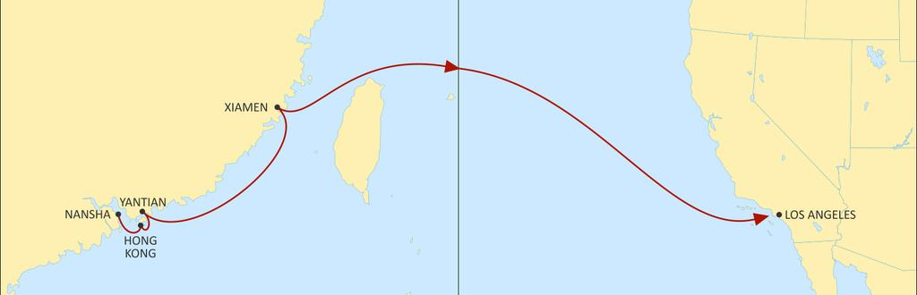 TRANSPACIFIC WEST COAST USA PEARL EASTBOUND Reliable South China space and connection to the Pacific Southwest and US hinterland Provides a direct link from Nansha, Hong Kong, Yantian and Xiamen to