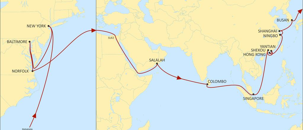 USA EAST COAST TO ASIA EMPIRE EASTBOUND New direct call to Hong Kong Fast transits to Salalah and Colombo. Comprehensive coverage of South and Central China.
