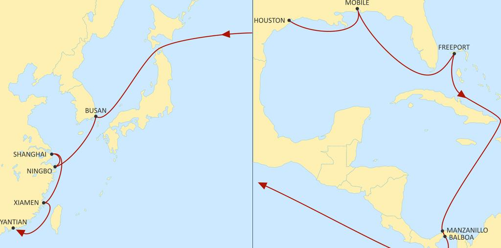 USA EAST COAST TO ASIA LONE STAR EXPRESS WESTBOUND Gateway from US Gulf to Asia Direct connections from Houston, Mobile.