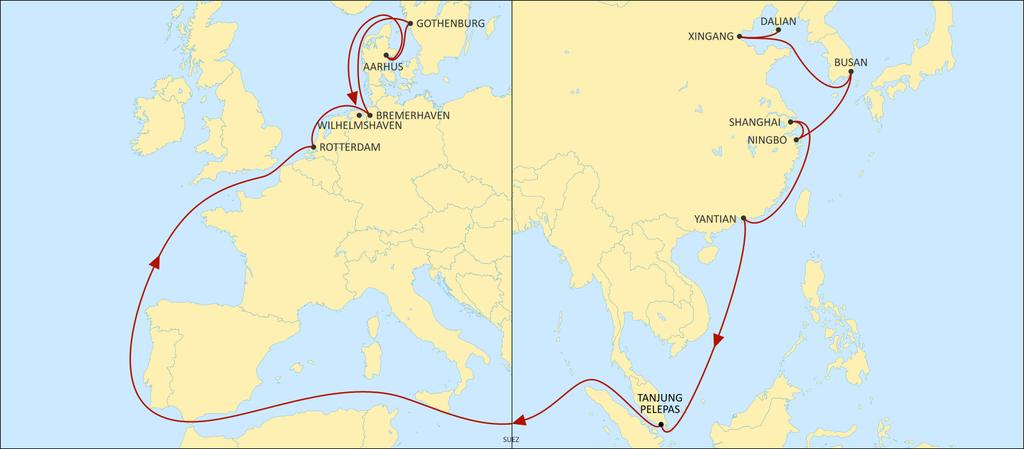 ASIA NORTH EUROPE ALBATROSS WESTBOUND Fast product to Rotterdam and Bremerhaven with great coverage of Korea, China and SEA origins.