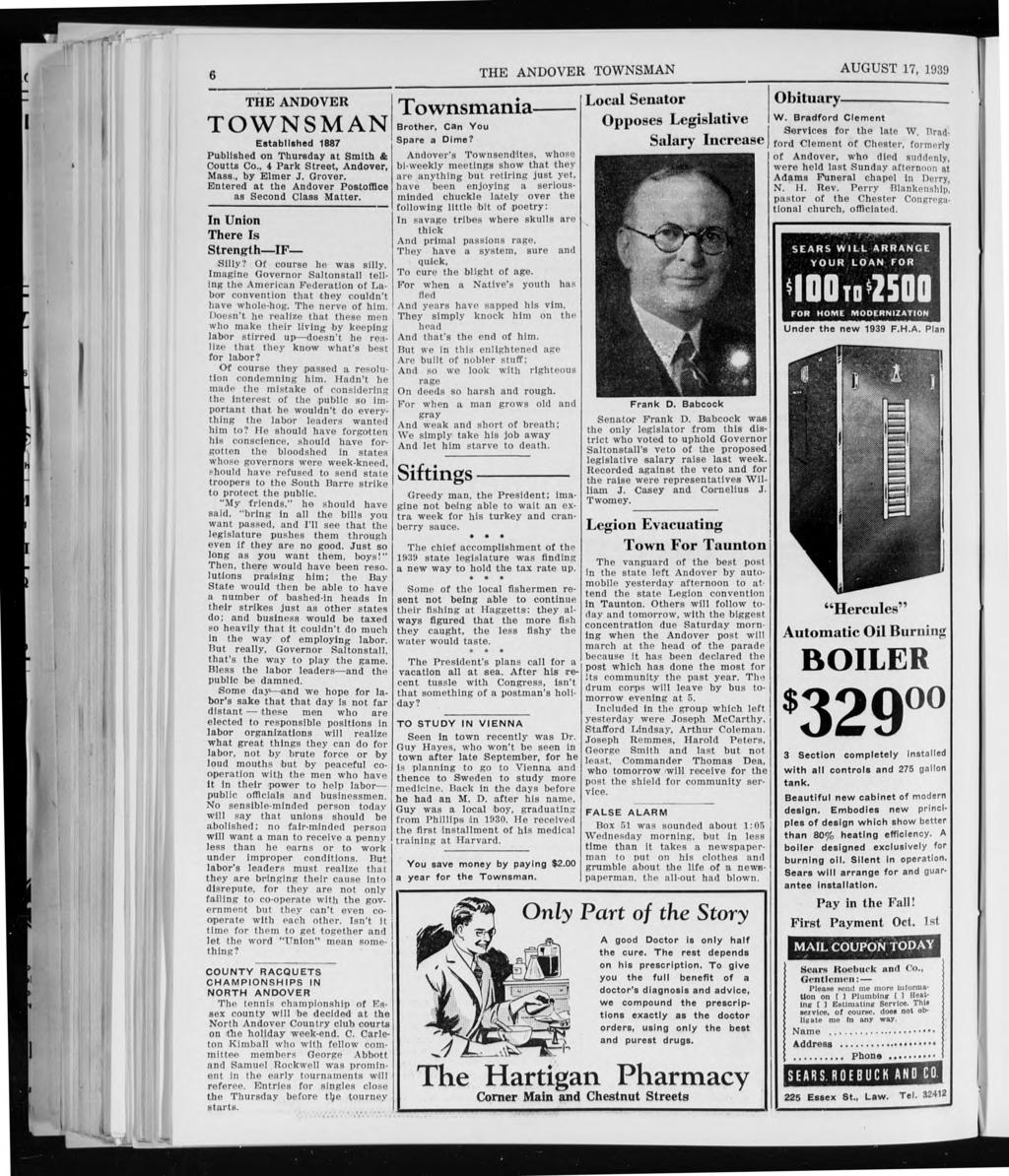 Po 6 THE ANDOVER TOWNSMAN AUGUST 17, 1939 THE ANDOVER TOWNSMAN Established 1887 Published on Thursday at Smith & Andover's Townsendites, whose Coutts Co., 4 Park Street, Andover, Mass., by Elmer J.