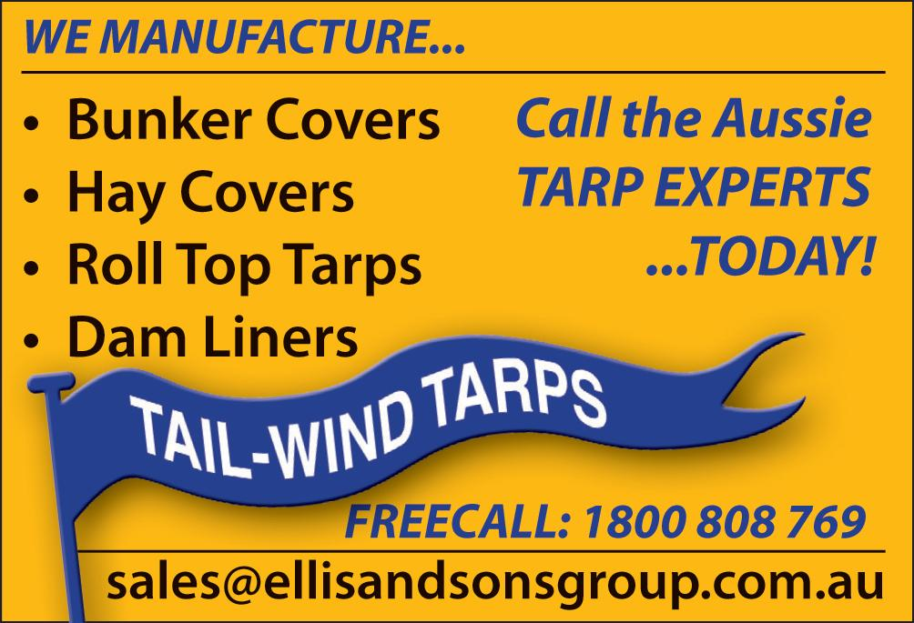 162 T Tarpaulins Cattle Shades Dam & Pond Liners Grain Bunker Covers Hay Tarps Truck Tarps Piggery/Poultry shed blinds 33 Industrial Ave TOOWOOMBA Email: ddt@ddt.com.au Call 07 4634 2166 www.ddt.com.au Tarpaulins All Tarps www.