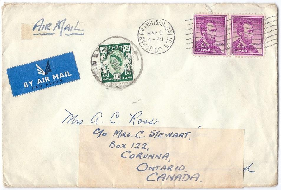 Lincoln (2) tied by SF machine cancel on airmail cover to