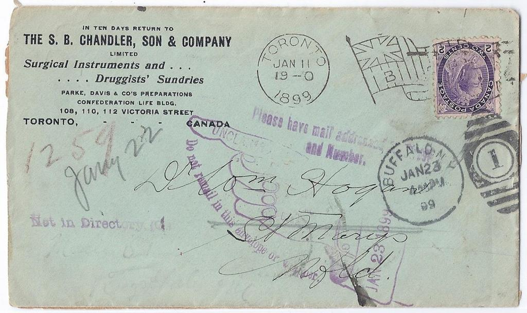 Item 260-24 27 letter carrier attempts 1899, 2 Numeral tied by Toronto Bickerdike machine cancel on Chandler advertising cover