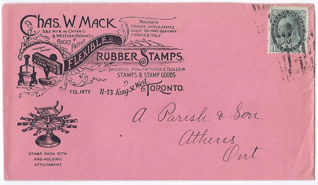 Item 260-25 Rubber stamps 1899, 1 Numeral tied by Toronto roller cancel on Chas W.