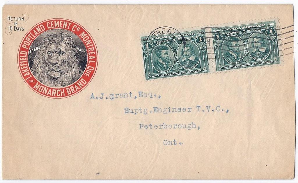 00 Item 260-26 Lakefield Portland Cement 1908, 1 Quebec (2) tied by Montreal International machine cancel