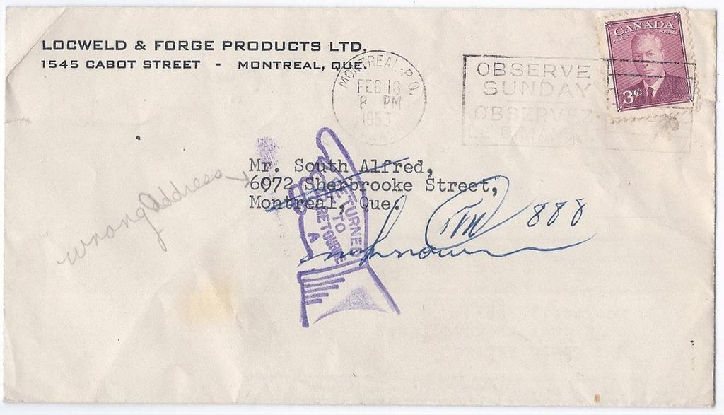 Item 260-36 Drop letter returned to sender 1953, 3 GEOVI tied by Montreal machine cancel on cover paying 3 drop letter rate.